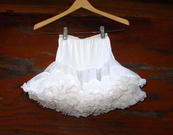 Wedding - Vintage Girls Shirey Tutu Mini Skirt Soft White Nylon Elastic Waist SUPER FULL Skirt Fantasy Dance Costume fits age 2 to 6