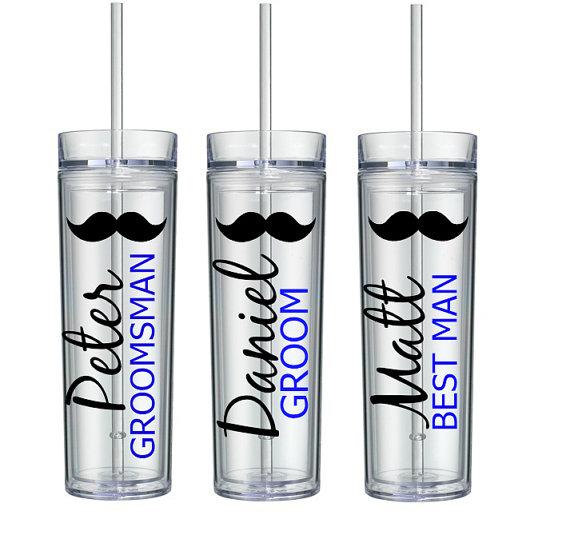 Свадьба - Personalized Groom, Best Man, Groomsmen and Ring Bearer Acrylic Tumblers, Mustache Tumblers, Bridal Party Tumbler Gifts, Groomsmen Gifts