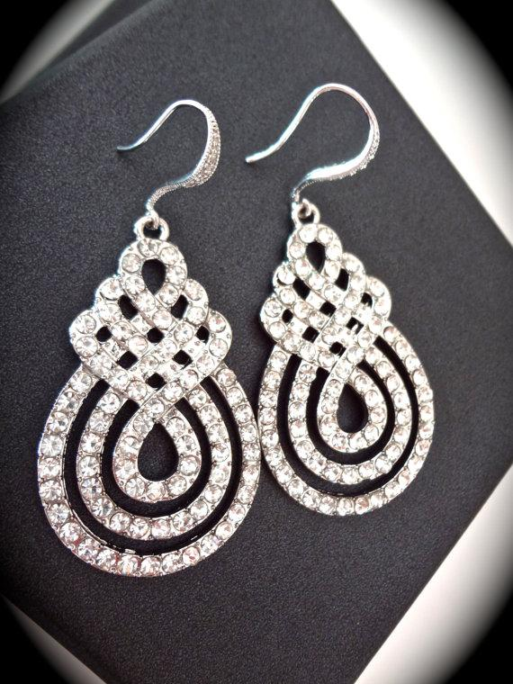 Hochzeit - Large rhinestone statement earrings ~ Crystal Rhinestone ~ Swirl design ~ Bridal jewelry ~ Brides earrings ~ Long ~ Pageant ~ Prom