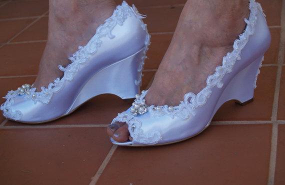 Ivory Wedding Wedge Heels: Wedding Wedge Shoes Lace Edging Pearls Crystals