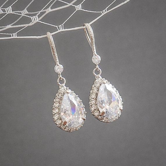 زفاف - Wedding Earrings, Bridal Earrings, Crystal Wedding Jewelry, Vintage Style Bridal Earrings, Zirconia Teardrop Dangle Wedding Earrings, CELENA