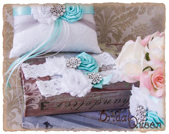 Flower girl basket ring bearer pillow guest book set : Aqua and gray wedding accessories ring bearer pillow