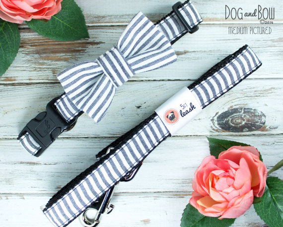 Свадьба - Black Seersucker Dog Bow Tie by Dog and Bow Wedding, Black and White