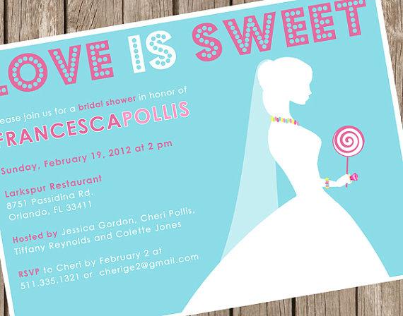 زفاف - PRINTED Bridal Shower Invitation - Love is Sweet - Candy Necklace Shower - 2.00 USD per invite (min. order 20)