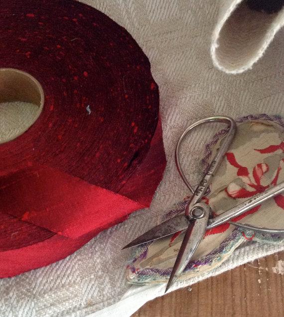 Wedding - red dupioni silk ribbon