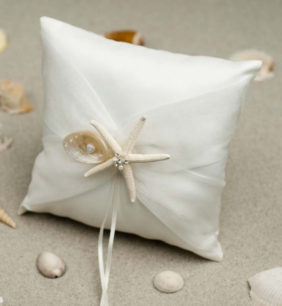 Wedding - Starfish and Shell Beach Ring Pillow - 75205