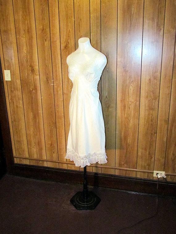 Mariage - Beautiful WHITE SATIN LINGERIE Full Slip