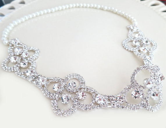 Hochzeit - Bridal Rhinestone Headband, Art Deco Bridal Headband, Pearl Rhinestone Hair Accessory, Wedding Bridal Accessories