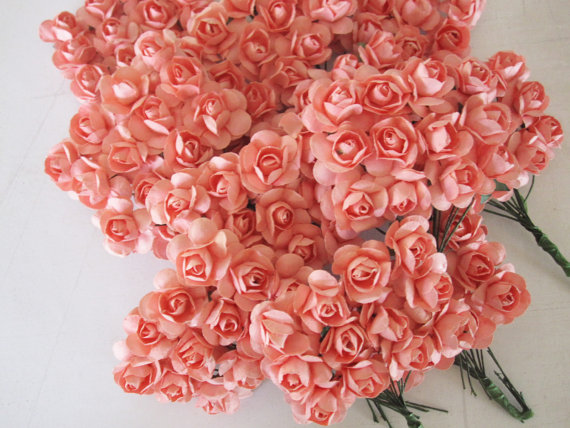 Coral paper flowers 120 pcs small bouquet weddings favors coral paper flowers 120 pcs small bouquet weddings favors invitations paper goods mightylinksfo