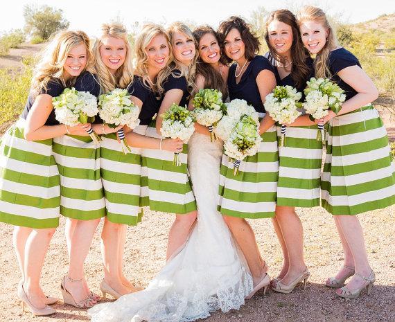Wedding - Green Striped Bridesmaid Skirt