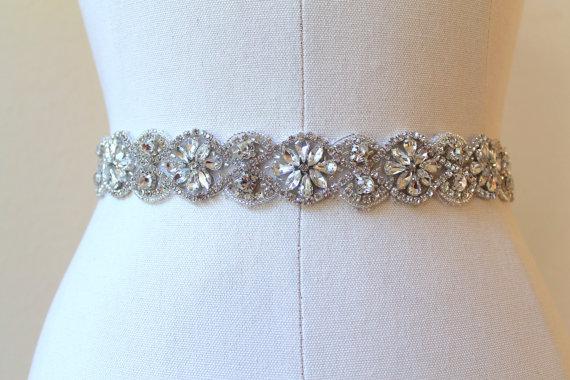 Mariage - Bridal beaded vintage rhinestone flower medallion sash.  Austrian crystal art deco embellished wedding belt.  FLORENZA