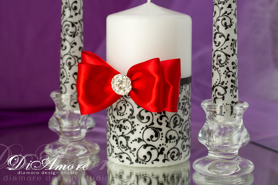 Wedding - RED BLACK Wedding Unity candles from the collection DAMASKPersonalization pillar candle/ black and white Wedding/3 pcs/