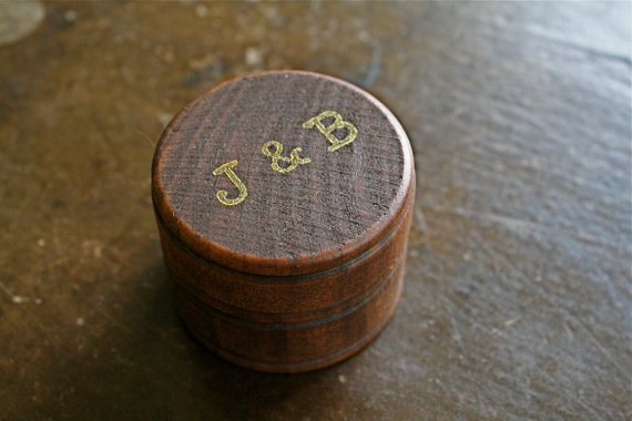 Wedding - Personalized wedding ring box.  Rustic wooden ring box, ring bearer accessory, ring warming.  Small round ring box with custom initials.