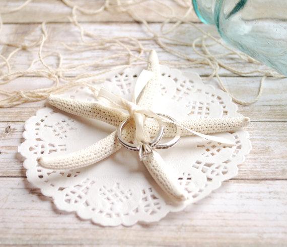 Beach Wedding Starfish Ring Pillow Shell Ring Bearer Bridal