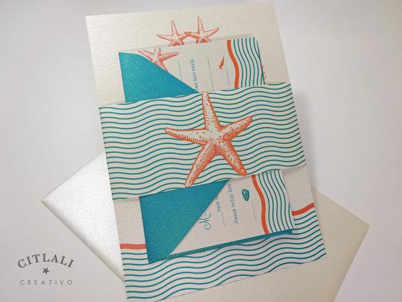 Coral And Teal Wedding Invitations: Starfish Wedding Invitations