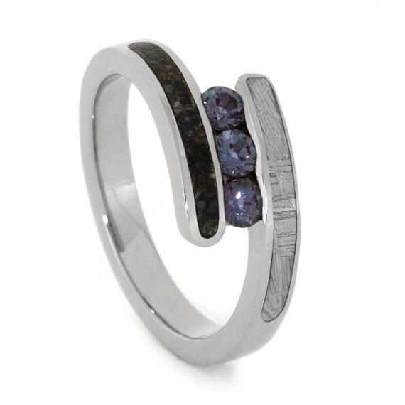 Wedding - Alexandrite Ring, Three Stone Ring with Meteorite and Dinosaur Bone, Palladium Engagement Ring