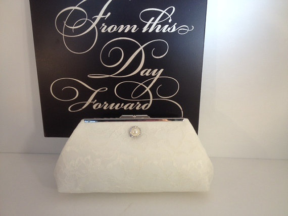 Mariage - Ivory Lace Over Ivory Satin Clutch Purse with Pearl Rhinestone, Bridesmaid Clutch, Bridal Purse, Wedding, Bridesmaid Gifts, Special Occasion