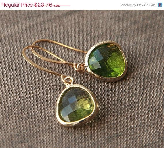 Wedding - On Sale Gold Earrings,Bridesmaid Earrings,Bridal Jewelry,Dangle Earrings,Wedding Earrings,Green Earrings,