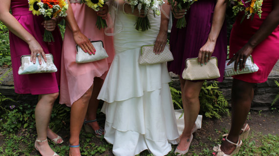 Mariage - Ivory tan handbag/ clutch gift for Wedding Party Custom Design your own in various fabrics