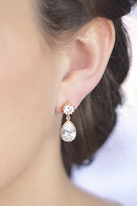 زفاف - Cubic Zirconia / Gold Two Piece Post Earrings - Crystal and Gold Earrings - Sprakly CZ - Gold Bridesmaid Earrings - Wedding Jewelry - Bridal