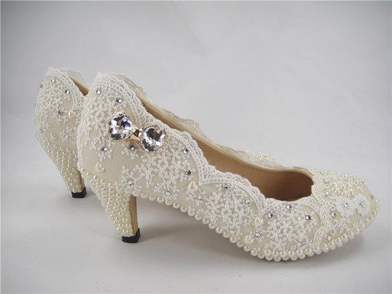 Mariage - Wedding Shoes, Lace Bridal Shoes, Crystal Wedding Shoes, Bridal Lace Shoes, Beaded Lace Shoes,Pearl Lace Shoes, Bridesmaid Shoes,Ivory Shoes