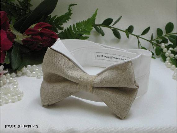 Wedding - Tan Linen Dog Oversized Bow Tie WingtipTuxedo Dog Collar~ Custom Made~Pet Bow Tie~Dog Best Man~Dog Ring Bearer~Dog Tuxedo~FREE Shipping