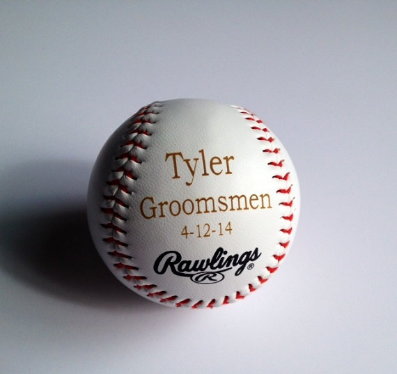 Свадьба - Groomsman Gift - MLB Rawlings Baseball - Laser Engraved & Personalized With Groomsmen - Ring Bearer - JR. Groomsmen or Grooms Info