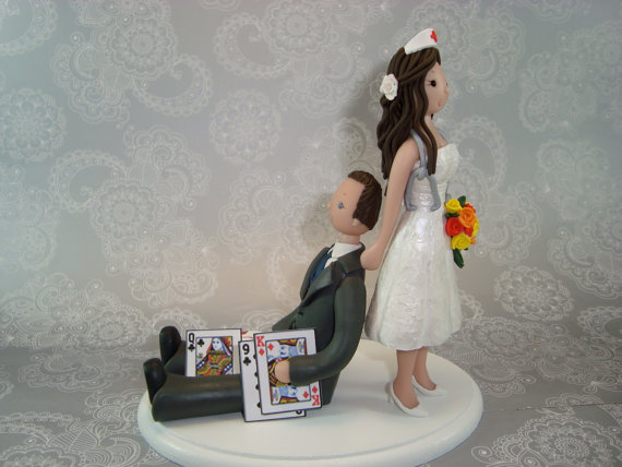 Wedding - Nurse Dragging Poker Player Personalized Wedding Cake Topper