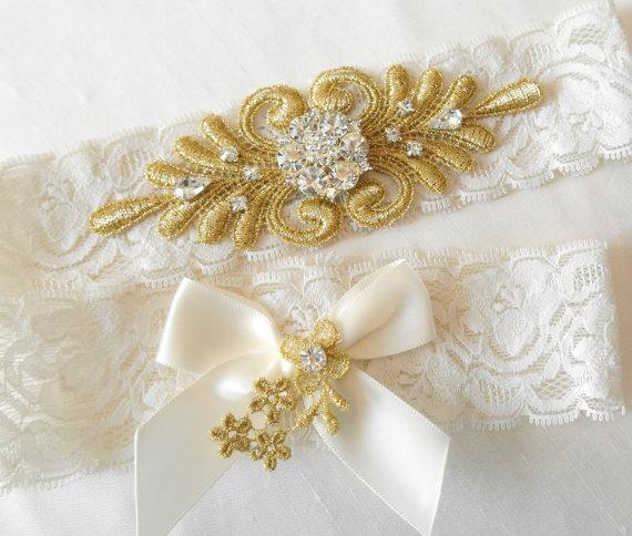 Wedding Garter GOLD Or SILVER VENICE Lace Monogram Option Vintage Design Set 3 Beautiful Colors Stretch