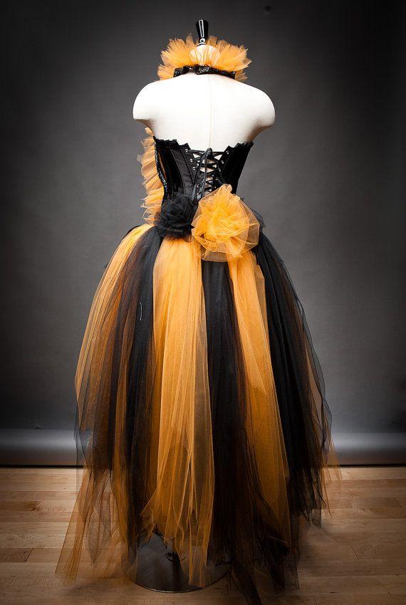 Custom Size Orange And Black Feather Burlesque Corset Witch Costume