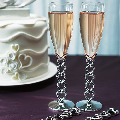 Wedding - Silver Plated Stacked Hearts Wedding Champagne Flutes