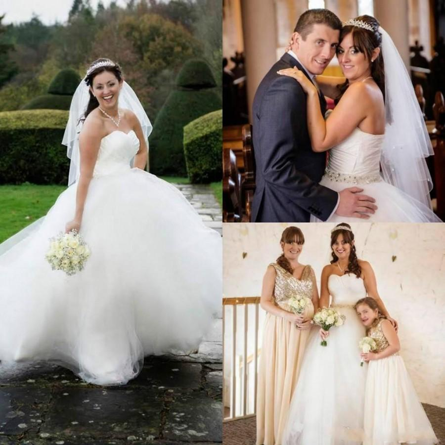 Hochzeit - Plus Size Tulle Ball Gown Wedding Dresses Sweep Length Cheap Sweetheart White Ivory Pleats Vintage Simple Sexy Bridal Dresses Gowns 2015 Online with $128.17/Piece on Hjklp88's Store