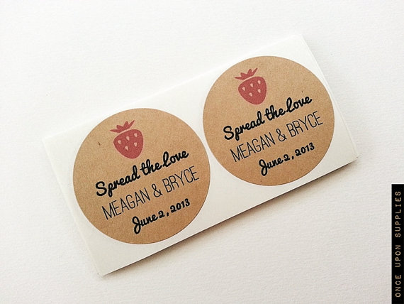 200 strawberry jam wedding favor jar labels stickers