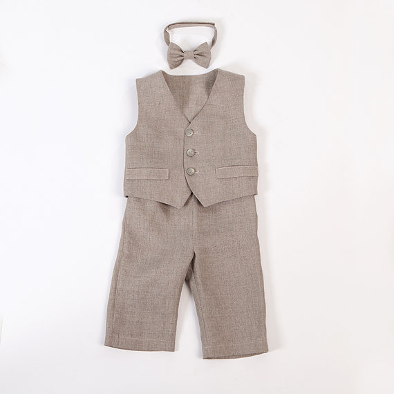 Mariage - Baby boy linen suit ring bearer outfit boy baptism natural clothes first birthday rustic wedding beach many color formal SET of 3 baby photo