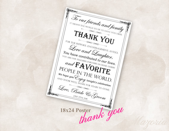 Mariage - 18 x 24 Poster Wedding thank you white Instant Download Just add your info and print!