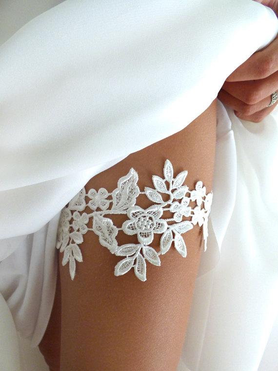 Boda - Ivory Lace Garter Set - Wedding Bridal Garter Set, Garter Set, Wedding Garter Belt, Bridal Garters, Ivory Garter Set : ELIZA Lace Garter