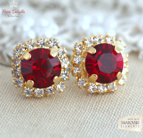 Mariage - Ruby Red earrings, White Ruby Red Swarovski Studs earrings, Crystal earrings, Bridesmaids jewelry, Wedding jewelry, Gift for her, Ruby studs