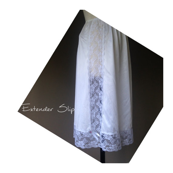 Wedding - M / Half Slip Skirt Extender / White Nylon with Wide Lace  / Size Medium / by Sliperfection / FREE Shipping