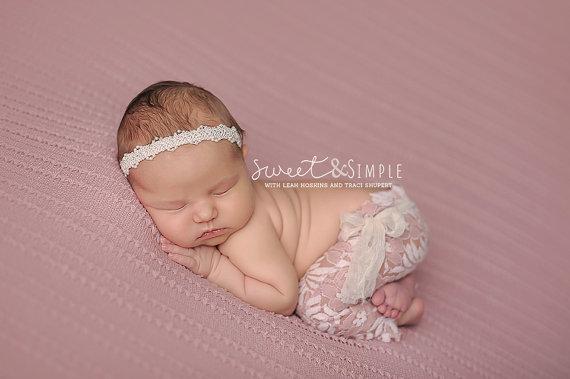 Mariage - Amaris - Ivory Lace Pearls Halo Headband - CHOOSE CREAM or WHITE - Baby Infant Newborn Girls Adults - Photo Prop - Wedding Baptism
