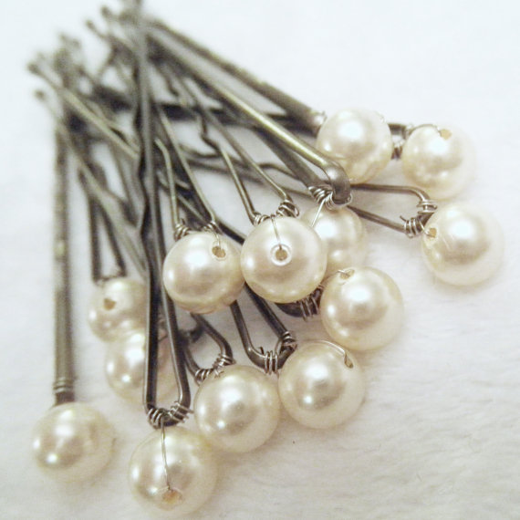 Mariage - Pearl Hair Pins - Ivory set of 12 Bridal bobby pins (Also in: Cream or Gold)  Wedding Hair Accessory