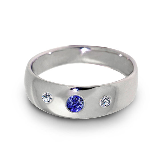 Three Stone Wedding Ring Diamond Sapphire 14k White Gold Rings Band Womens Mens Italian Jewelry
