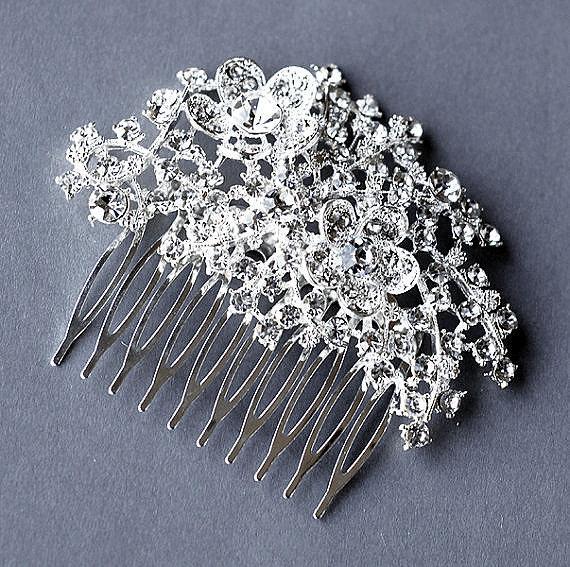 Свадьба - Rhinestone Bridal Hair Comb Accessory Wedding Jewelry Crystal Flower Side Tiara CM017LX