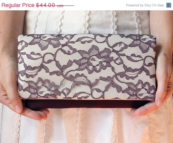 Boda - Memorial Day Sale 15% off The LENA Clutch - Lace Wedding Clutch - Ivory Satin and Eggplant Lace - Purple Wedding Clutch - Bridesmaid Gift Id