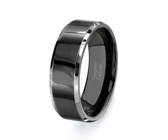Mens Wedding Band Black Tungsten Ring