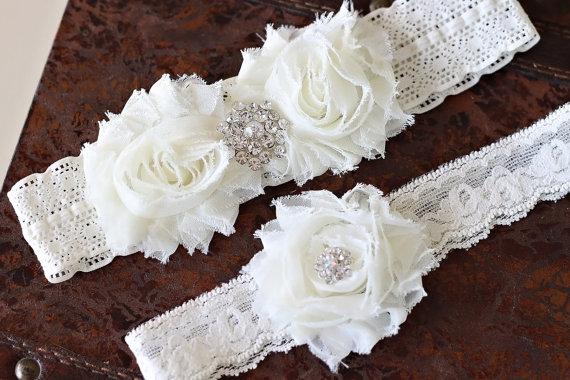 Hochzeit - SALE!!! Wedding garter set Ivory garter set, Vintage bridal garter set