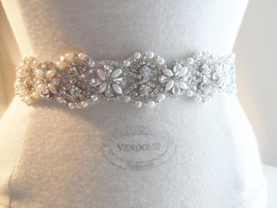 Mariage - SASH BRIDAL SASH Wedding dress sash silver pearl sash wedding dress belt bridal dress sash