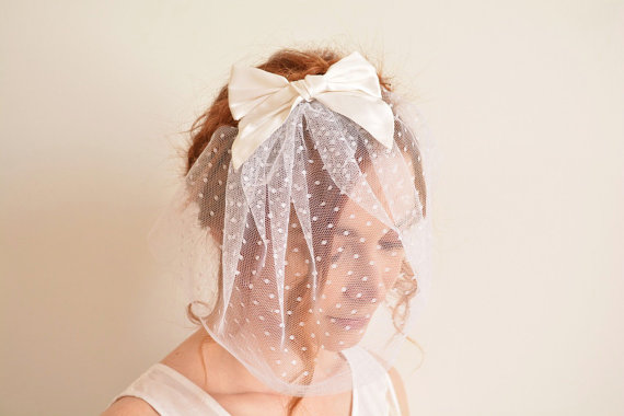 Mariage - White polka dot bridal blusher with silk bow