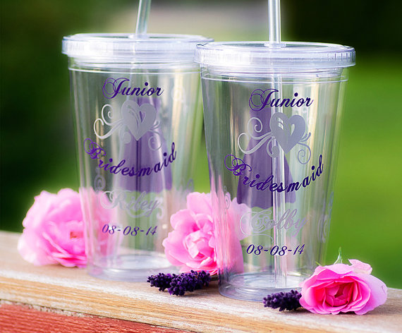 Mariage - Junior Bridesmaid tumbler, Bridesmaid gift, Soft Pink, purple, silver grey colors, Tumblers with lid and straw. Priced individually