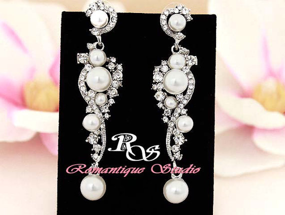 White Pearl Bridal Earrings Vintage Style Wedding With Crystal And Rhinestone Drop Jewelry Accessory 1276