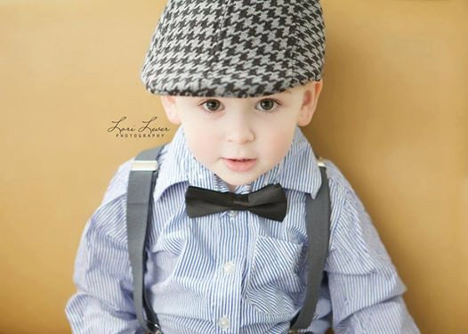 Свадьба - Boy's Houndstooth Wedding 3 Piece set - Grey/Black Hat with Grey suspenders and Bow Tie (your choice) Fits boys 3-7 years old